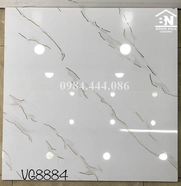 gạch lát nền khắc kim màu trắng