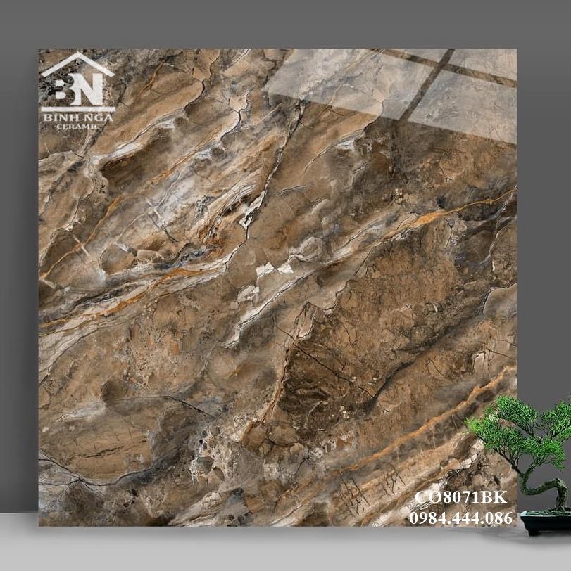 Gạch bóng kiếng 80x80 vân đá marble màu nâu