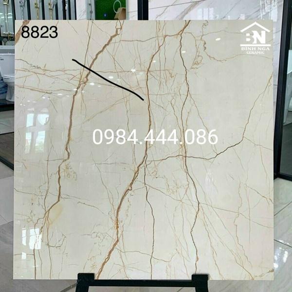 Mẫu gạch 80x80 bóng kiếng khắc kim vân đá marble